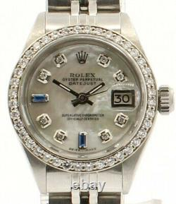 Rolex Oyster Perpetual Datejust 26mm Blanc Mop Cadran Acier Diamants Dames Montre
