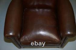 Rrp £999 John Lewis Tetrad Camford Scroll Arm Brown Leather Club Baignoire Fauteuil