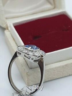 Sapphire Platine Et Diamant Style Art Déco Bague