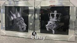 Silver King Lion Tête Et Reine Lioness Miroir Photos, 55x55 Animal Roi Lion