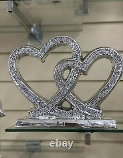 Sparkly Silver Double Heart Bling Ornament Crushed Diamond Shelf Sitter