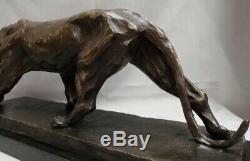 Statue Panthere Style Art Déco Art Nouveau Bronze Massif Signe