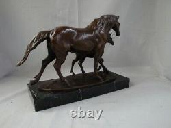 Statue Sculpture Cheval Poulain Animalier Style Art Déco Style Art Nouveau Bronz