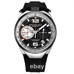 Stuhrling 894.02 Vk Hommes Japon Chronographe Bracelet En Caoutchouc Bullhorn Pusher Watch
