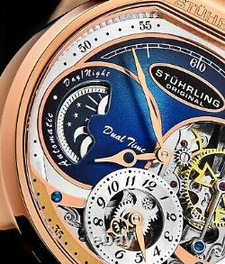 Stuhrling Homme 988 Automatic Wind Stainless Rose Gold Skeleton Leather Watch