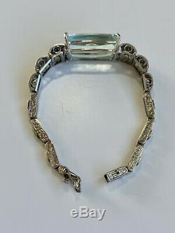 Style Art Déco 21ct Énorme Aigue-marine Et Diamant Bracelet Avec 16860 $ Évaluation