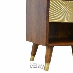 Style Art Déco Bois Foncé Table De Chevet Cabinet Or Sunrise Sculpture Motif Porte
