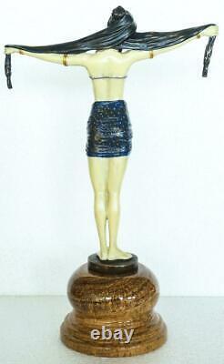 Style Art Déco Bronze Lady'scarf Danseur' Signé Dh Chiparus Peint À La Main
