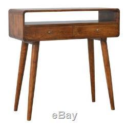 Style Art Deco Console Table / Coiffeuse À Bord Incurvé Avec Pieds Au Milieu Du Siècle