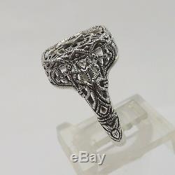 Style Art Déco En Verre En Argent Sterling Camphor Diamant Filigrane Bague Sz 7