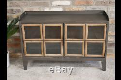 Style De Métal Industriel Grand Bahut, Rétro Cabinet Avec Portes En Verre