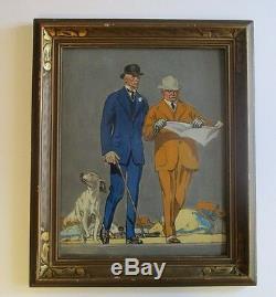 Style Leyendecker Peinture Non Signée Art Déco Portrait Ancien Américain Au Début
