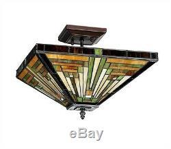 Style Mission Artisans Arts & Crafts Déco Semi Flush Vitrail Lampe De Plafond