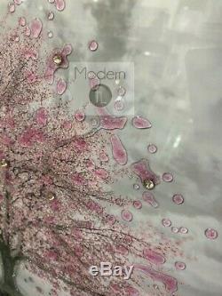 Superbe Arbre Fleur Rose Image Art Paillettes 3d Dans Le Cadre De Diamant Écrasé