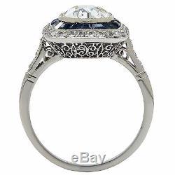 Superbe Bague De Fiançailles Européenne À Diamants Et Saphirs De Style Art Déco De Style Platine