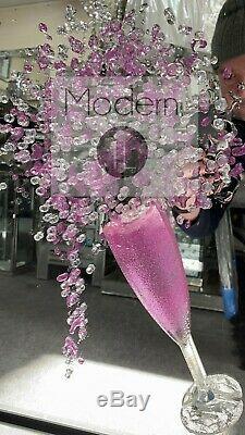 Superbe Champagne Rose Art Paillettes 3d Avec Des Flûtes De Champagne En Cadre Miroir