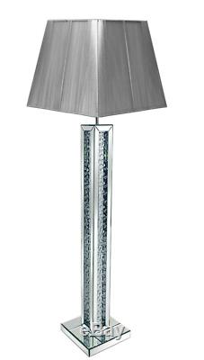 Superbe Lampe De Sol En Cristal De Verre Flottant Avec Miroir, Abat-jour Gris