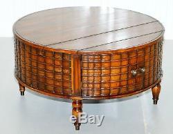 Superbe Rare Style Régence Tambour Table Basse Scholars Livres Theodore Alexander