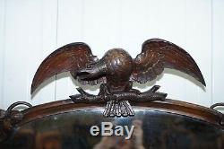Superbe Victorienne Noyer Et Marbre Enfilade Chiffonnier Sculpté Eagle & Fleurs