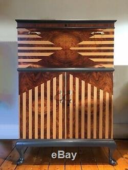 Superbe Vintage Sunburst Art Déco Cocktail Boissons Cabinet Retro Bar Antique