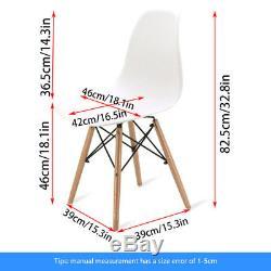 Table À Manger Blanche De Bureau Chaises Set Rectangle Jambes En Bois Mdf Eiffel Retro Design