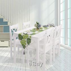 Table À Manger En Bois De Pin Massif Et 4 Chaises, Mobilier De Salle À Manger Blanc