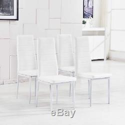 Table À Manger En Verre Trempé Transparent Et 4 Chaises À Dossier Haut En Similicuir