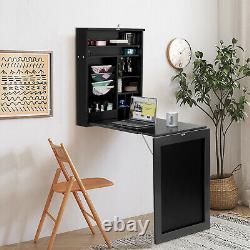 Table À Manger Flottante De Bureau D'ordinateur Portatif Mur-monté Avec La Table À Manger De Goutte-feuille Avec Le Tableau Noir