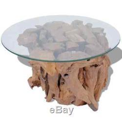 Table Basse Côté Latéral En Bois Flotté En Teck Massif 60 CM