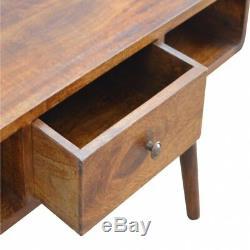 Table Basse Courbée 1 Tiroir Art Déco Marron