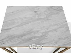 Table Basse Moderne Malibu Avec Finition En Marbre Et Cadre Géométrique En Métal Doré