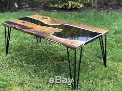Table Basse River En Résine Epoxy Black Diamond