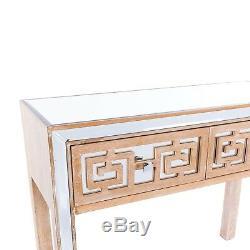 Table Console Deux Tiroirs Biseauté Miroir Miroir L 100 X P40 X H80cm