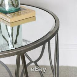 Table D'argent Mirrored Côté Luxueux Accent Chevet Décoration Moderne Vintage