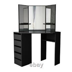 Table D'habillage D'angle Multi-angle Miroir Tabouret 5 Tiroirs Bureau Arielle Nouveau