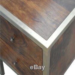 Table De Chevet De Style Art Déco En Bois Foncé Et Doré Avec 2 Tiroirs Et Des Poignées En Or