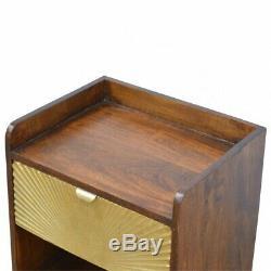 Table De Chevet En Bois Doré Et Sombre Inspirée Par Art Deco Et Imprimée Au Milieu Du Siècle