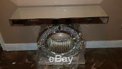 Table De Chevet Et Console Beddazling En Miroir Avec Diamants Concassés