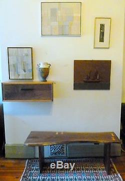Table De Chevet Flottante De Style Moderne Au Milieu Du Siècle, Noyer Et Cerise Art Déco