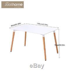 Table De Salle À Manger Rectangulaire Et Chaises 2/4/6 Set En Bois Blanc Style Retro Eiffel