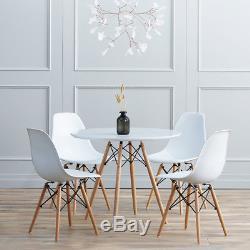 Table De Salle À Manger Ronde Et 4 Chaises Blanches En Bois, Café, Bureau, Moderne