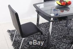 Table En Verre Double Couche Et 4 Chaises En Similicuir Ensemble De Table À Manger Et Chaises