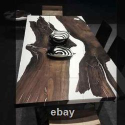 Table Epoxy En Bois Massif Fait Main, Table À Manger/coffe, Table De Rivière, Table Epoxy