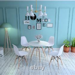 Table Ronde + 4 Chaises Salon Salon Bar Cafe Salle À Manger White Retro Style