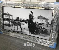 Tableau D'art Mural Avec Paillettes Lady And Leopard Avec Cadre En Cristal Broyé Miroir
