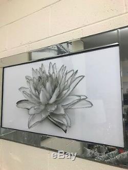 Tableau De Fleurs Scintillant Blanc Dans Un Cadre En Miroir 100x60 CM