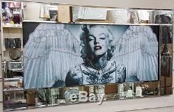 Tableaux Marilyn Monroe En Noir Et Blanc Avec Ailes, Cristaux Et Montures De Miroir
