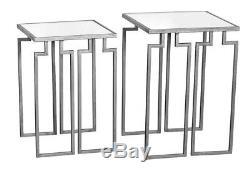 Tables D'appoint Latérales Console Café Miroir Métal Argenté Argenté, Set De 2