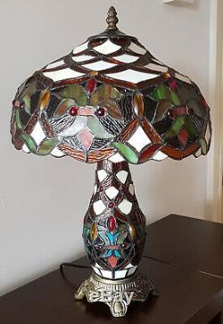Tiffany Style De Verre 2 Ampoule Way Lampe De Table À L'ombre Et De La Base Art Déco (anita)