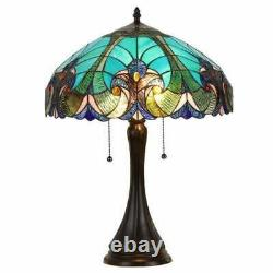 Tiffany Style Victorien 2-léger Verre Vert Teinté Lampe De Lecture De Table